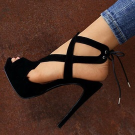 Plain Peep Toe Lace-Up Heel Sandals