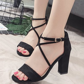 Faux Suede Open Toe Chunky Heel Sandals