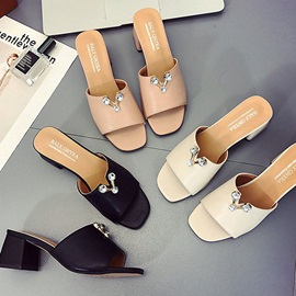 PU Rhinestone Chunky Heel Slip-On Slide Sandals