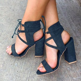 Faux Suede Ankle Strap Lace-Up Block Heel Women's Sandals