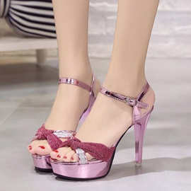 PU Ankle Strap Platform Stiletto Heel Women's Sandals