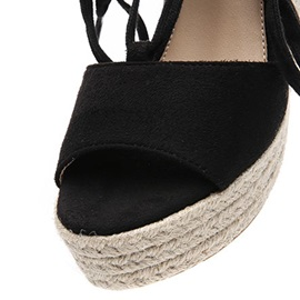 Suede Strappy Lace-Up Wedge Heel Women's Espadrille Sandals