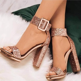 Sequin Open Toe Line-Style Buckle Heel Sandals