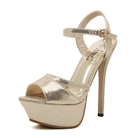 PU Peep Toe Platform Strappy Women's Sandals