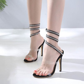 PVC Rhinestone Strappy Stiletto Heel Women's Sandals