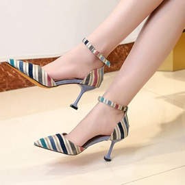 Stripe Pointed Toe Line-Style Buckle Women's Sandals