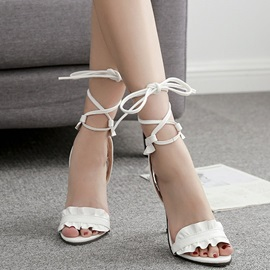 PU Lace-Up Stiletto Heel Women's Sandals