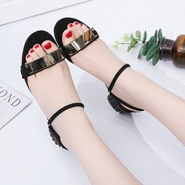 PU Sequin Strappy Chunky Heel Women's Sandals