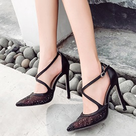 PU Rhinestone Pointed Toe Stiletto Heel Women's Sandals
