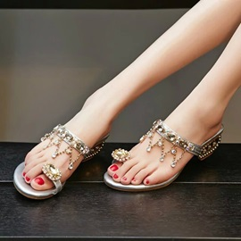 PU Rhinestone Toe Ring Slip-On Women's Sandals