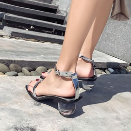 PU Toe Ring Strappy Shaped Heel Women's Sandals