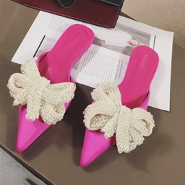 Bow Pointed Toe Slip-On Women's Sandals