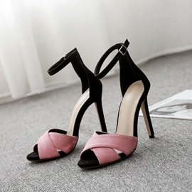 Peep Toe Line-Style Buckle Stiletto Heel Women's Sandals