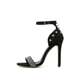 Rivet Line-Style Buckle Stiletto Heel Women's Sandals