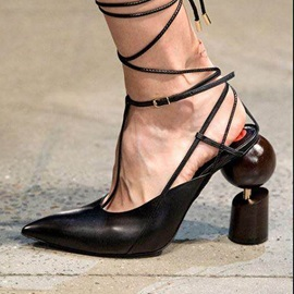 Pointed Toe Shaped Heel Women's Sandals