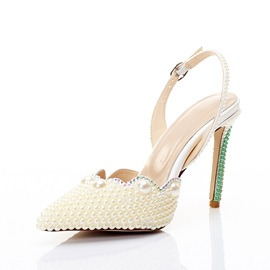 Beads Slingback Strap Stiletto Heel Women's Wedding Shoes