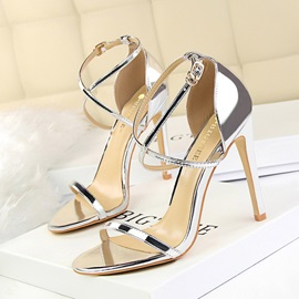PU Heel Covering Buckle Stiletto Heel Women's Sandals