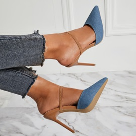 Denim Slip-On Stiletto Heel Women's Sandals