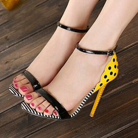 Polka Dot Stiletto Heel Line-Style Buckle Women's Sandals