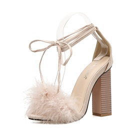 Faux Fur Lace-Up Ankle Strap Chunky Heel Women's Sandals