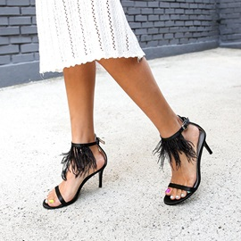 PU Fringe Zipper Stiletto Heel Women's Sandals