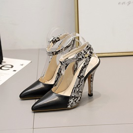 Alligator Pattern Pointed Toe Ankle Strap Women's Sandals