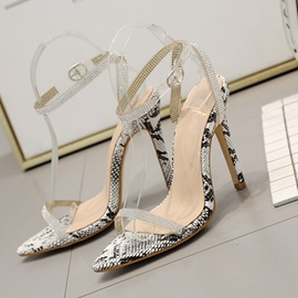 Rhinestone Pointed Toe Stiletto Heel Line-Style Buckle Women's Sandals