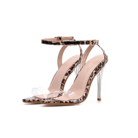 Buckle Ankle Strap Open Toe Leopard Sandals