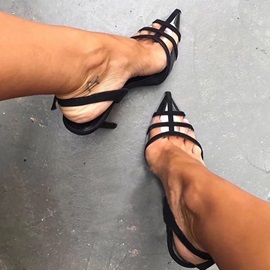 Pointed Toe Slingback Strap Buckle Sexy Sandals