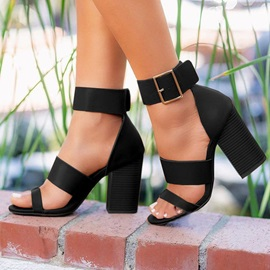 Chunky Heel Heel Covering Open Toe Casual Sandals