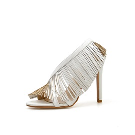 Slip-On Open Toe Stiletto Heel Fringe Women's Sandals