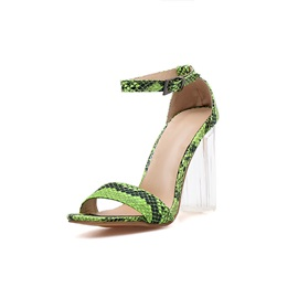 Neon Patchwork Stiletto Heel Heel Covering Buckle Sandals