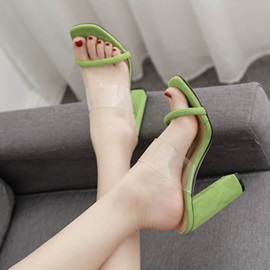 Neon See-Through Stiletto Heel Slip-On Women's Slippers