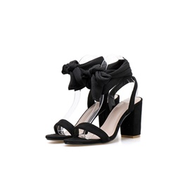 Chunky Heel Ankle Strap Lace-Up Patchwork Women's Sandals