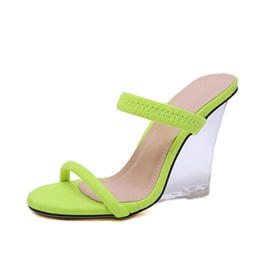 Neon Slip-On Wedge Heel Women's Slippers