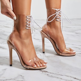 Heel Covering Lace-Up Open Toe Sexy Sandals