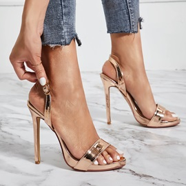 Open Toe Buckle Stiletto Heel Prom Sandals