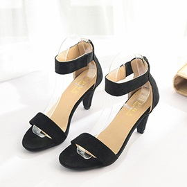 Heel Covering Kitten Heel Zipper Low Heel Sandals