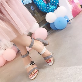 Open Toe Heel Covering Chunky Heel Women's Sandals