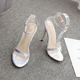 Buckle Heel Covering Stiletto Heel Color Block Sandals