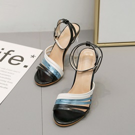 Chunky Heel Ankle Strap Open Toe Color Block Sandals
