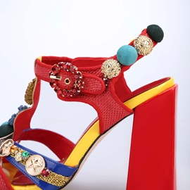 Buckle Stiletto Heel Ankle Strap Floral Customized Prom Sandals