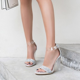 Chunky Heel Open Toe Heel Covering Glitter Sandals