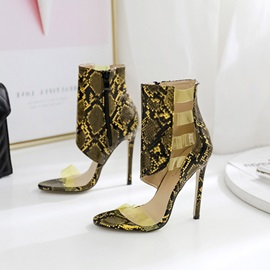 Heel Covering Stiletto Heel Open Toe High Top Sandal Boots
