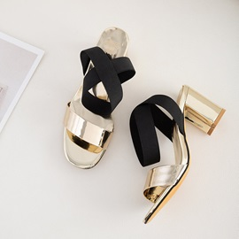 Elastic Band Ankle Strap Open Toe Casual Women