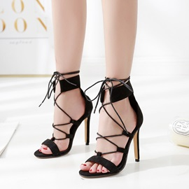 Stiletto Heel Heel Covering Lace-Up High-Cut Upper Sandals