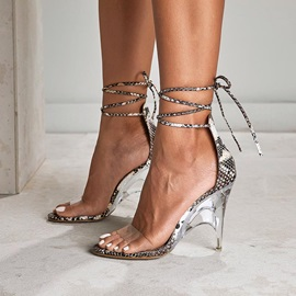 Lace-Up Heel Covering Open Toe Women's Sandals