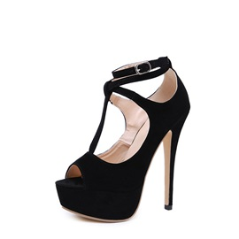 Stiletto Heel Buckle Peep Toe Women's Sandals