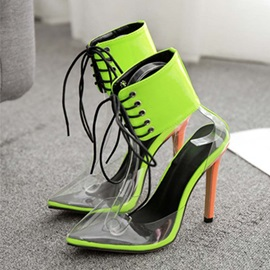 Pointed Toe Cross Strap Lace-Up Neon Women