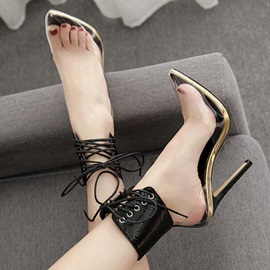 Pointed Toe Cross Strap Lace-Up Neon Women's Pumps